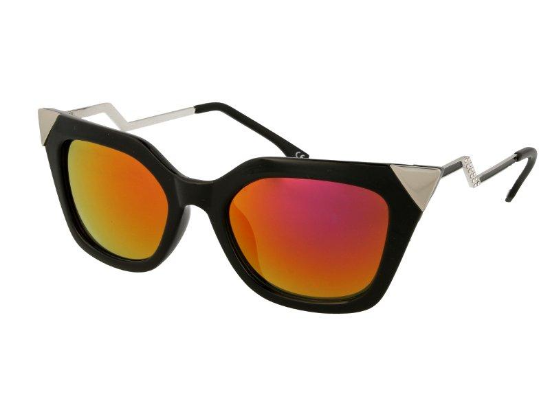 Damen Sonnenbrille Alensa Cat Eye Shiny Black Mirror